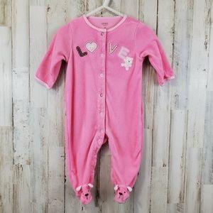 Carter's Baby Girls Sleeper 6 Months Pink Terry